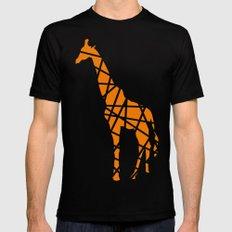 Modern Orange Giraffe Mens Fitted Tee Black SMALL