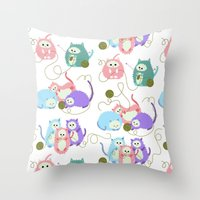 3 Little Kittens Throw Pillow