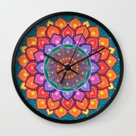 Lotus Rainbow Mandala Wall Clock