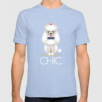 Chic Poodle Mens Fitted Tee Tri-Blue SMALL