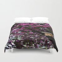 Flowers And Birdhouse 15 Duvet Cover