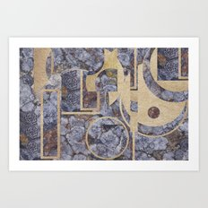 Stiperstones Lichen and Gold Abstract Art Print