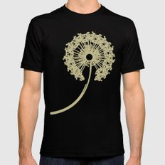 DANDELIONS TURQUOISE Black SMALL Mens Fitted Tee