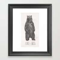 Like a Boss Bear Framed Art Print