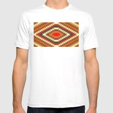 american native traditional ethnic costume motif seamless pattern SMALL Mens Fitted Tee White