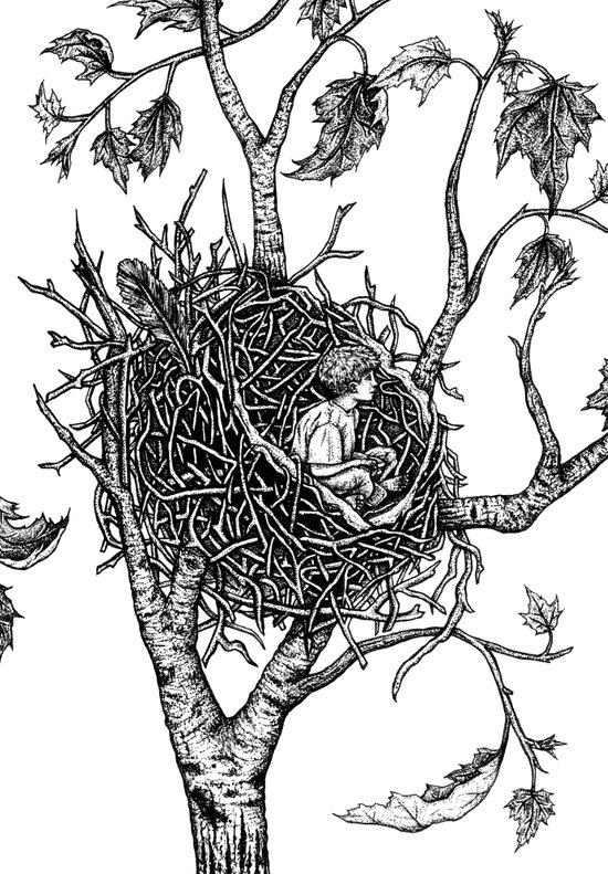 A bird without feathers Art Print