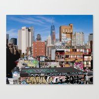 Lower East Side, New York City Art, NYC Architecture Photography, Urban Prints, Blue Wall Art Canvas Print