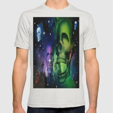 Cosmic Skulls Mens Fitted Tee Silver SMALL