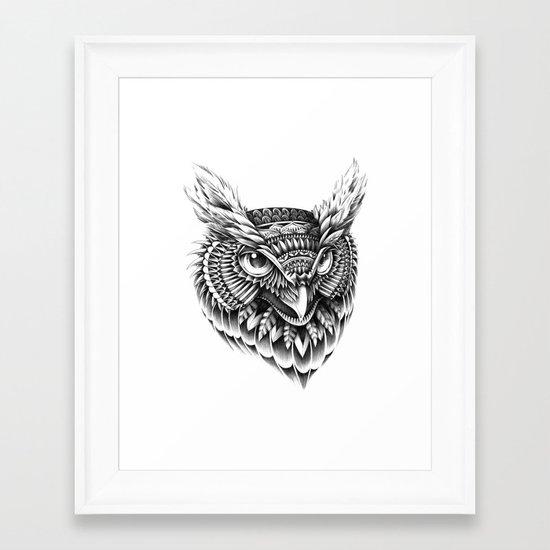 Ornate Owl Head Framed Art Print