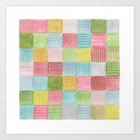 Watercolor Quilt Art Print