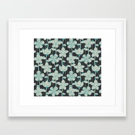 My grey spotted flowers. Framed Art Print
