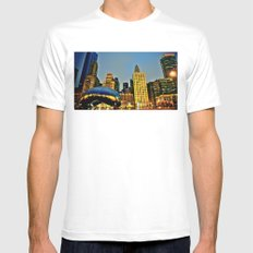 Chicago Bean White Mens Fitted Tee SMALL