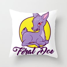 My Feral Doe Logo Throw Pillow