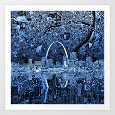 st louis city skyline map Art Print