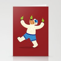 A Bear With Pears (colou… Stationery Cards