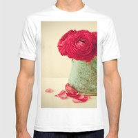 Red Petals Mens Fitted Tee White SMALL
