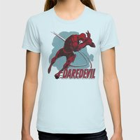 The Man Without Fear Womens Fitted Tee Light Blue SMALL