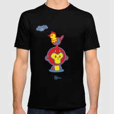The Monkey and The Rooster  Mens Fitted Tee Black SMALL