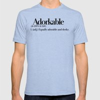 Adorkable Mens Fitted Tee Tri-Blue SMALL