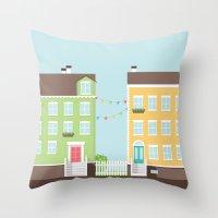 Little Houses Throw Pillow