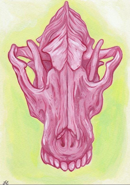 Pink Wolf Skull Art Print