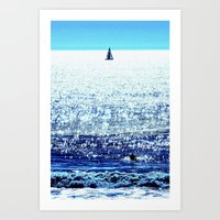Sailboat and Swimmer Art Print