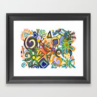 Flower Abstract White Framed Art Print