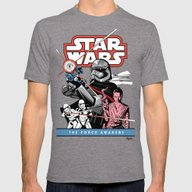 The Force Awakens Mens Fitted Tee Tri-Grey MEDIUM