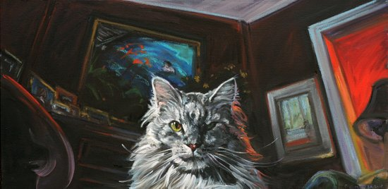 Two Faces of the Main Coon Cat Art Print