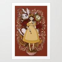 Alice And The White Rabb… Art Print