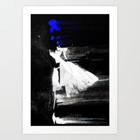 Blown Away ( Watercolor Abstract artwork, Feminine, Elegant, Black, Blue ) Art Print