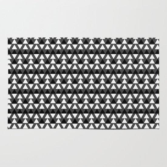 Black & White Triangles Area & Throw Rug