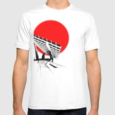 Barna Love Red Sun Mens Fitted Tee SMALL White
