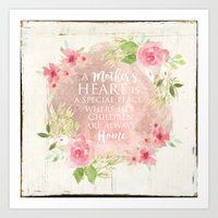 Typography A Mothers Heart Art Print