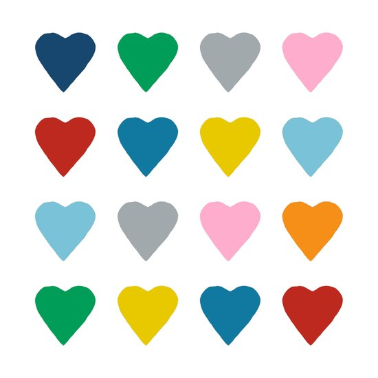 16 Hearts Canvas Print