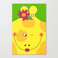 Giraffe Love Art - Cute, funny, colorful, lovely Children's Art Canvas Print