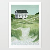 Cottage On The Beach Art Print