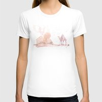 Watercolor landscape illustration_Egypt Womens Fitted Tee White SMALL