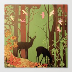deer in forest Canvas Print