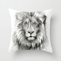 Lion Watercolor Black and White Animal Portrait Throw Pillow