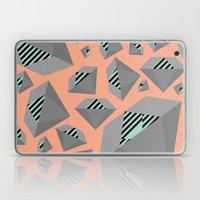 Mint and Gray Diamond on Peach Laptop & iPad Skin