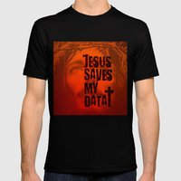 Jesus saves my data Mens Fitted Tee Black SMALL
