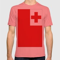 The Flag Of Tonga Mens Fitted Tee Pomegranate SMALL