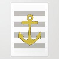 Golden Anchor Art Print