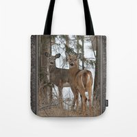 White-Tailed Deer In Win… Tote Bag