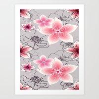 Pink Floral On Grey Art Print