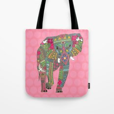 painted elephant pink Tote Bag