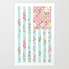 Flower Flag USA Art Print