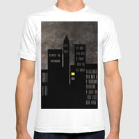 City Skyline Light Mens Fitted Tee White SMALL