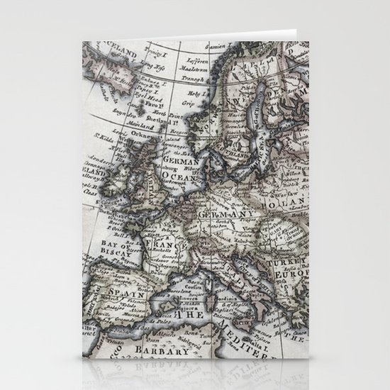 Old World Map Stationery Card